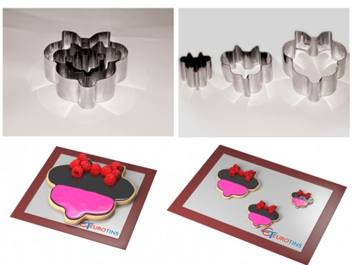 """Set of 3 Minnie Mouse Cake Cookie Cutter - 1"""" deep"""