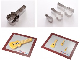 "Set of 3 Guitar Cake Cookie Cutter - 1"" deep"