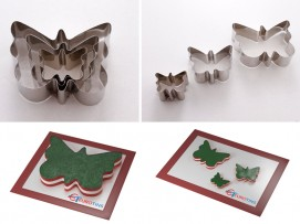 "Set of 3 Butterfly Cake Cookie Cutter - 1"" deep"