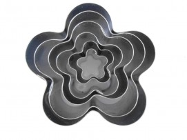 "Set of 6 Petal Flower Shape Cake Cookie Cutter - 1"" deep"