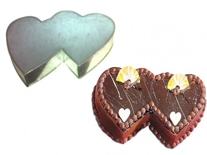 Double Heart  Shape Novelty Cake Tin Baking Pan Birthday