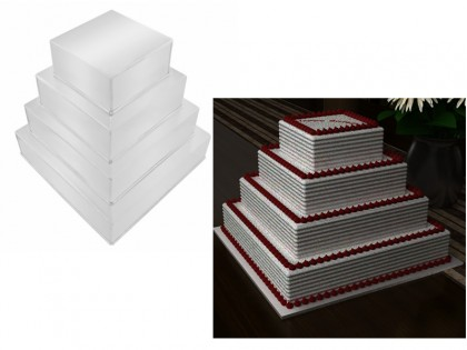 "4 Tier Square Multilayer Wedding Cake Tins (4"" Deep)"