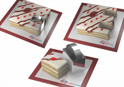 """Rectangle Shape Steel Cookie Cake Slicer / Cutter 3"""" Deep with Handle"""