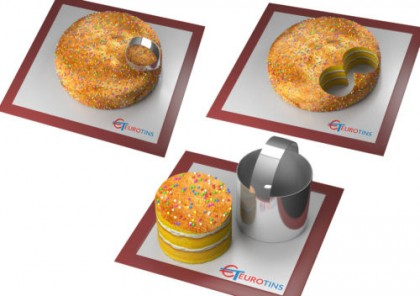 """Round Shape Steel Cookie Cake Slicer / Cutter 3"""" Deep with Handle"""