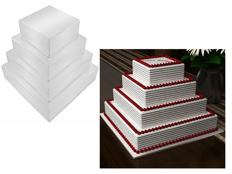 4 Tier Square Wedding Birthday Cake Tins Baking Pans