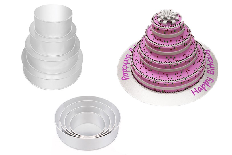4 Tier Round Wedding Birthday Cake Tins Baking Pans