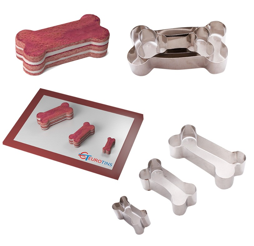 "Set of 3 Dog Bone Cake Cookie Cutter - 1"" deep"