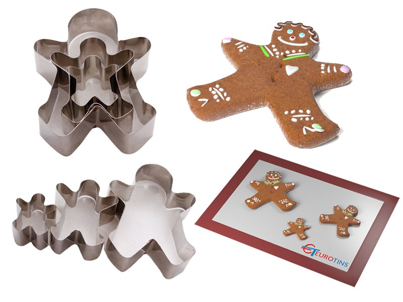"Set of 3 Gingerbread Man Cake Cookie Cutter - 1"" deep"
