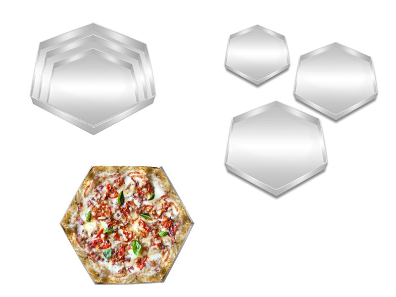 Set of 3 Hexagon Shape Pizza Pan
