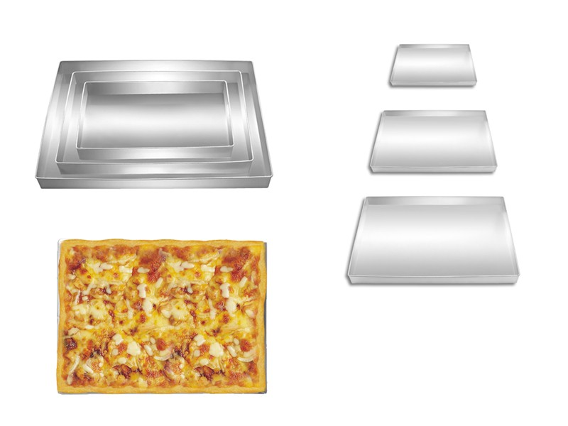 Set of 3 Rectangle Shape Pizza Pan