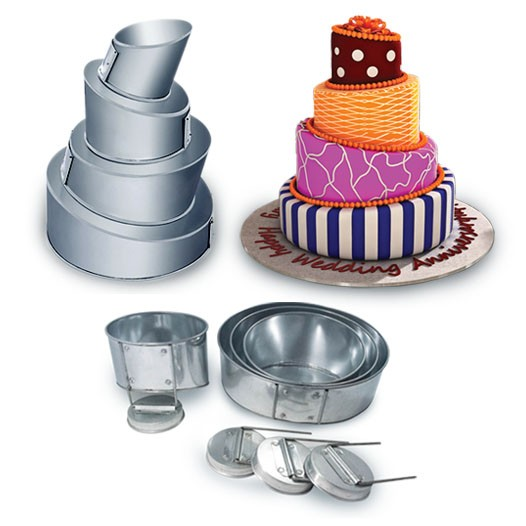 4 Tier  Topsy Turvy Round Wedding Birthday Cake Tins Baking Pans