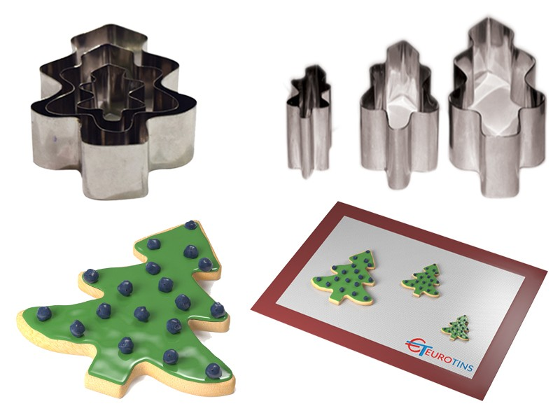 "Set of 3 Christmas Tree Cake Cookie Cutter - 1"" deep"