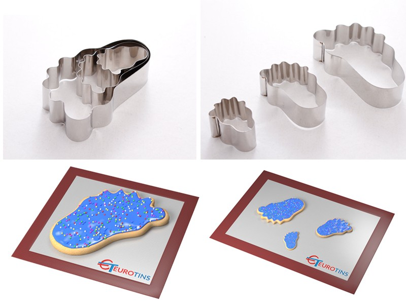 "Set of 3 Foot  Cake Cookie Cutter - 1"" deep"