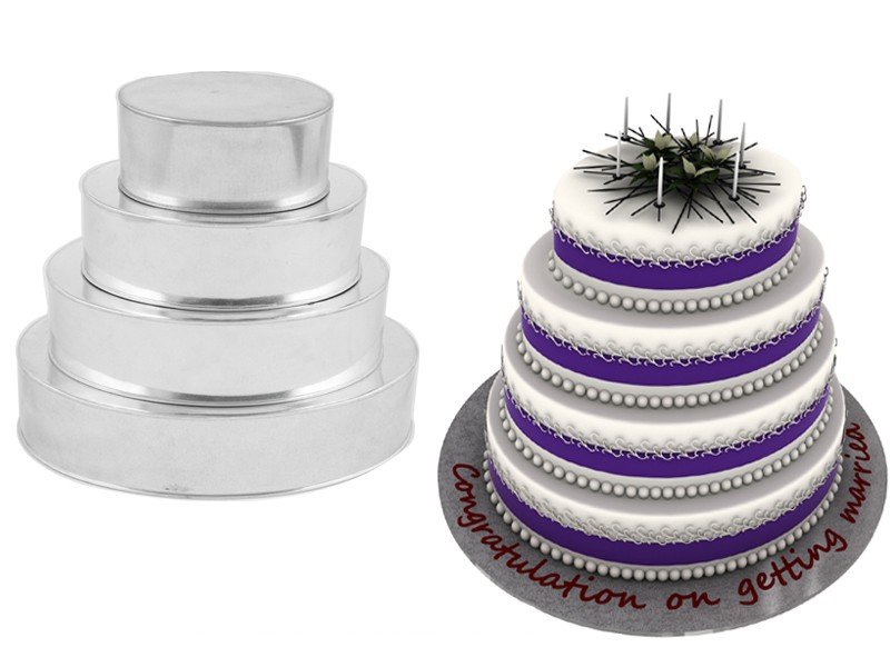4 Tier Oval Wedding Birthday Cake Tins Baking Pans