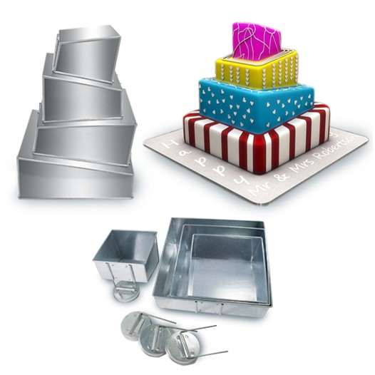 4 Tier  Topsy Turvy Square Wedding Birthday Cake Tins Baking Pans